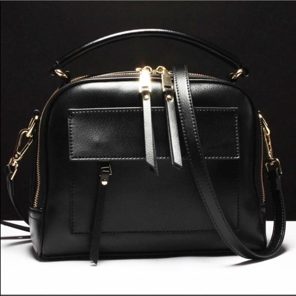 Evolving Always Handbags - New Black Pebble Leather Compact Bag